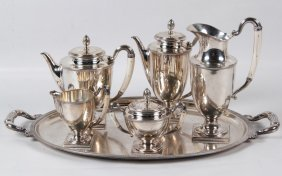 142 Troy Ozs., Continental Silver 6 Piece Tea And