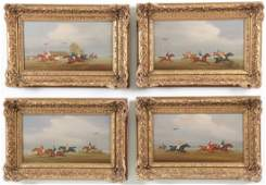 GROUP OF 4 SIGNED ENGLISH OIL ON CANVAS PAINTINGS