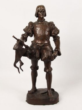 French Bronze Figure Of Man Holding Horn