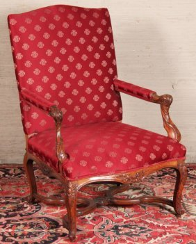 Louis Xv Style Provincial Carved Walnut Fauteuil