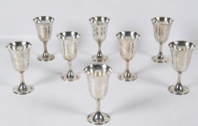 36 Troy Ozs., Set Of 8 Sterling Silver Goblets