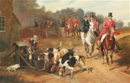 WATTS LARGE ENGLISH OIL ON CANVAS HUNT SCENE PAINTING