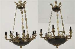 PAIR OF FRENCH EMPIRE STYLE GILT BRONZE CHANDELIERS
