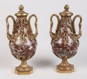 Pair Of French Gilt Bronze Mounted And Marble Capped