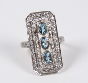 18k Yellow Gold Diamond And Aquamarine Ring