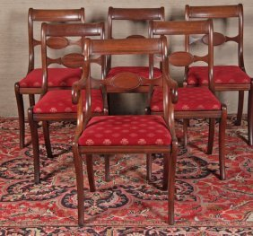 Set Of 6 English Regency Style Mahogany Chairs
