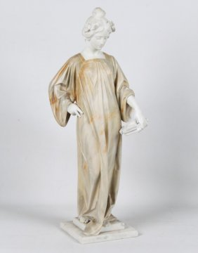 Classical Marble Figure Of Woman Holding Lyre