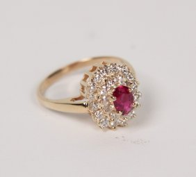 14k Yellow Gold Diamond And Ruby Ladies Ring