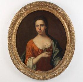 18th C. Oil On Canvas Portrait Of Woman