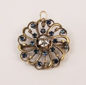 Rose Gold Diamond And Sapphire Pendant Brooch
