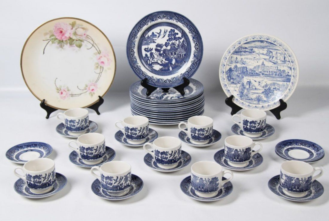 """36 PIECES OF """"WILLOW PATTERN"""" BY CHURCHILL"""