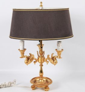 Regency Style Gold Gilt Metal Bouillotte Lamp