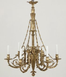 Important French Gilt Bronze 6 Light Chandelier
