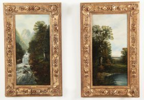 Pair Of 19th C. Oil On Canvas Landscape Paintings
