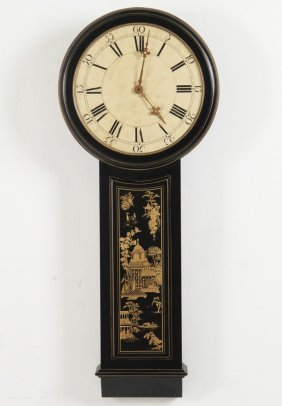 Black Lacquered School House Style Clock