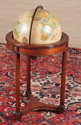 Decorative Library Globe On Mahogany Stand