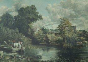 Framed Color Enhanced Print After John Constable