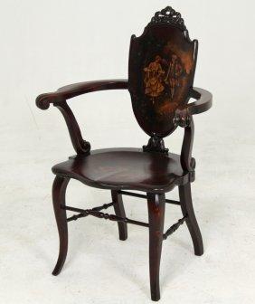 Mahogany Vernis Martin Decorated Arm Chair