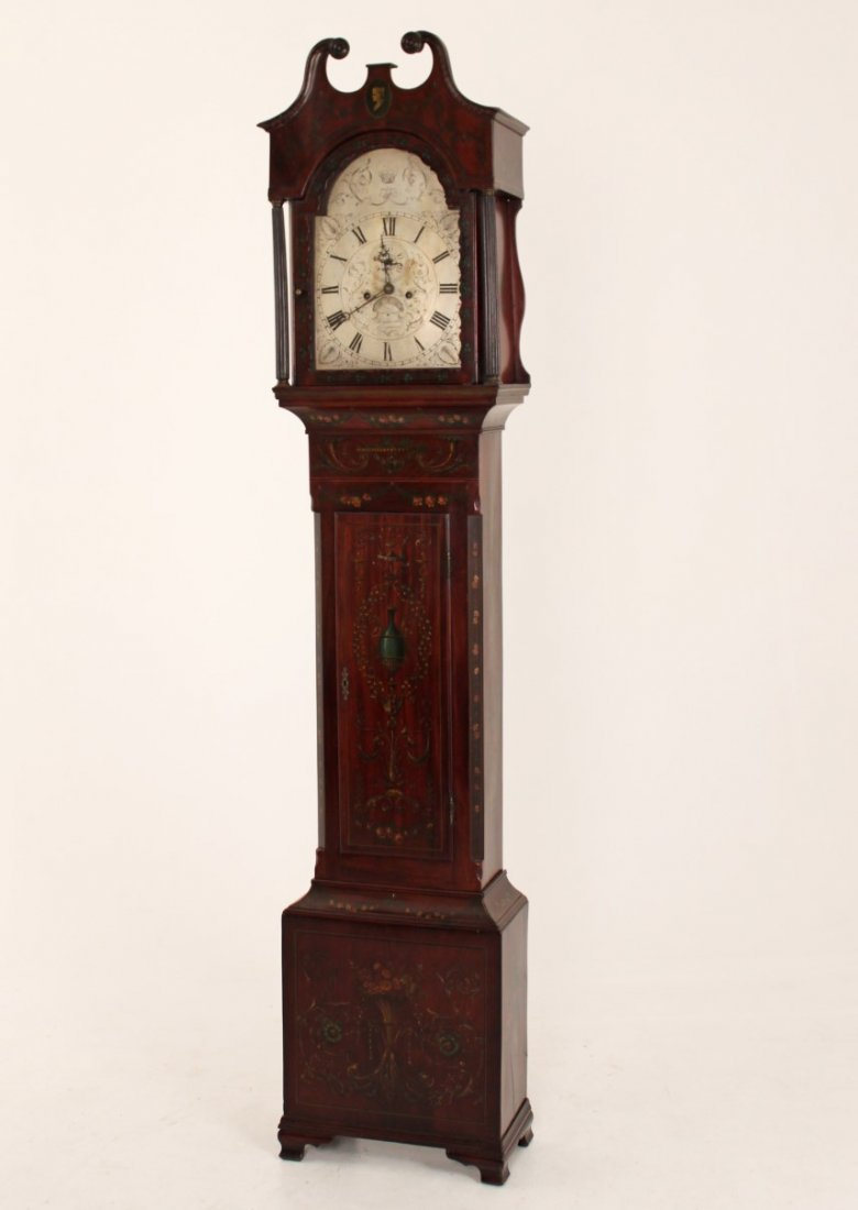 FINE ENGLISH MAHOGANY ADAMS PAINTED GRANDFATHER CLOCK