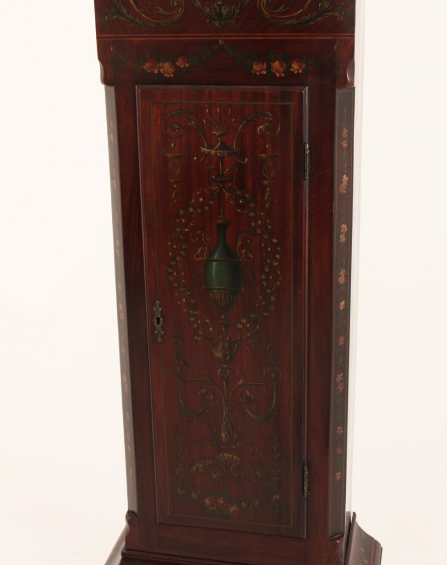 FINE ENGLISH MAHOGANY ADAMS PAINTED GRANDFATHER CLOCK - 3