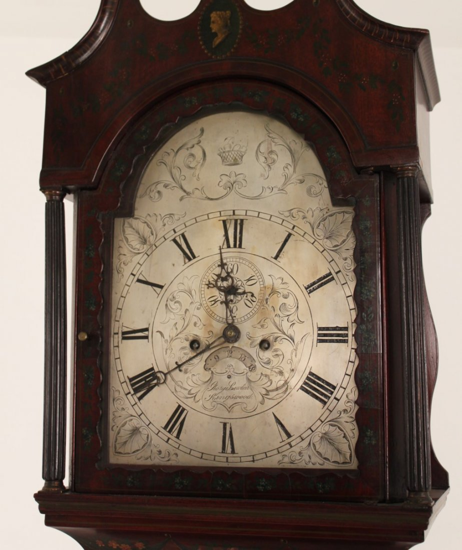 FINE ENGLISH MAHOGANY ADAMS PAINTED GRANDFATHER CLOCK - 4