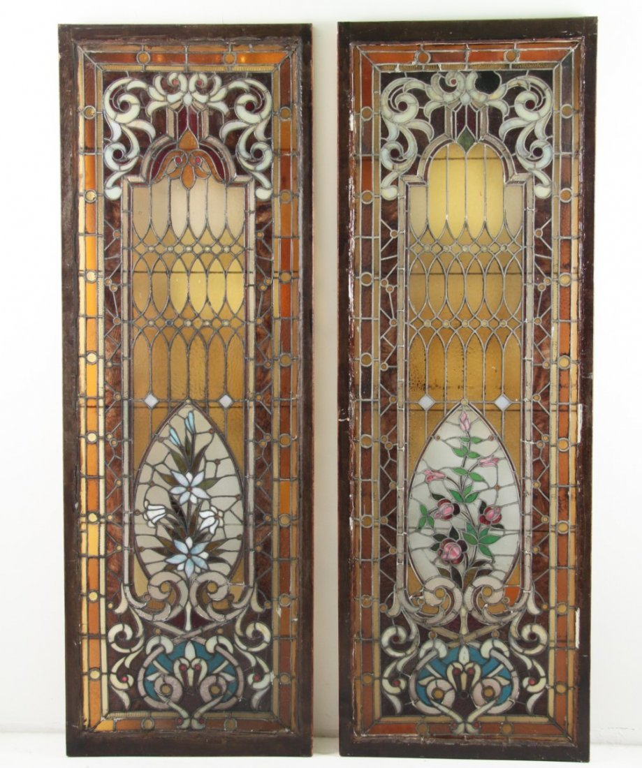PAIR OF LARGE FRAMED ANTIQUE STAINED GLASS WINDOWS