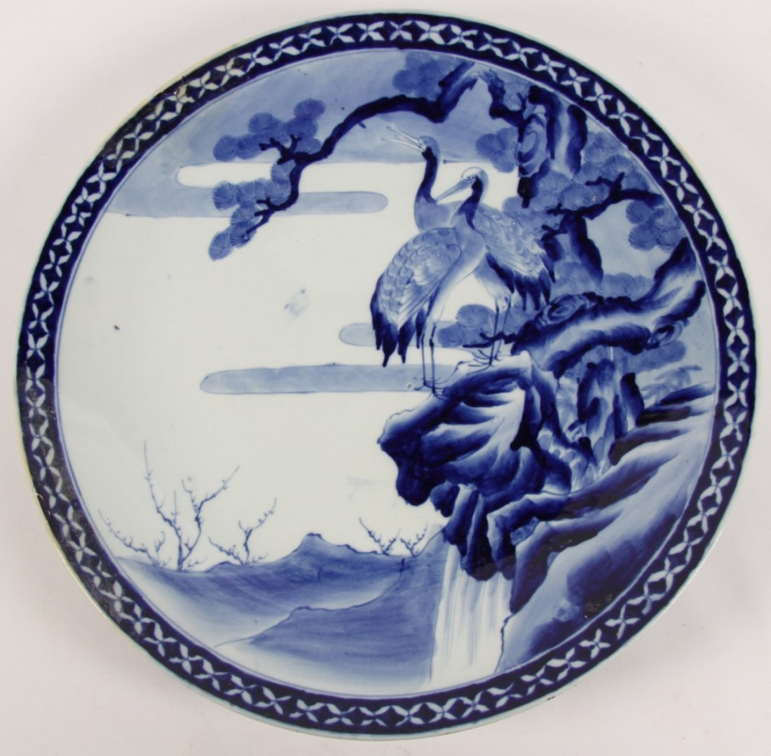 """LARGE 18"""" JAPANESE BLUE AND WHITE PORCELAIN CHARGER"""