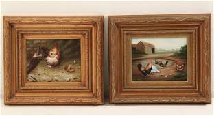 PAIR OF DECORATIVE FRAMED OIL ON CANVAS PAINTINGS