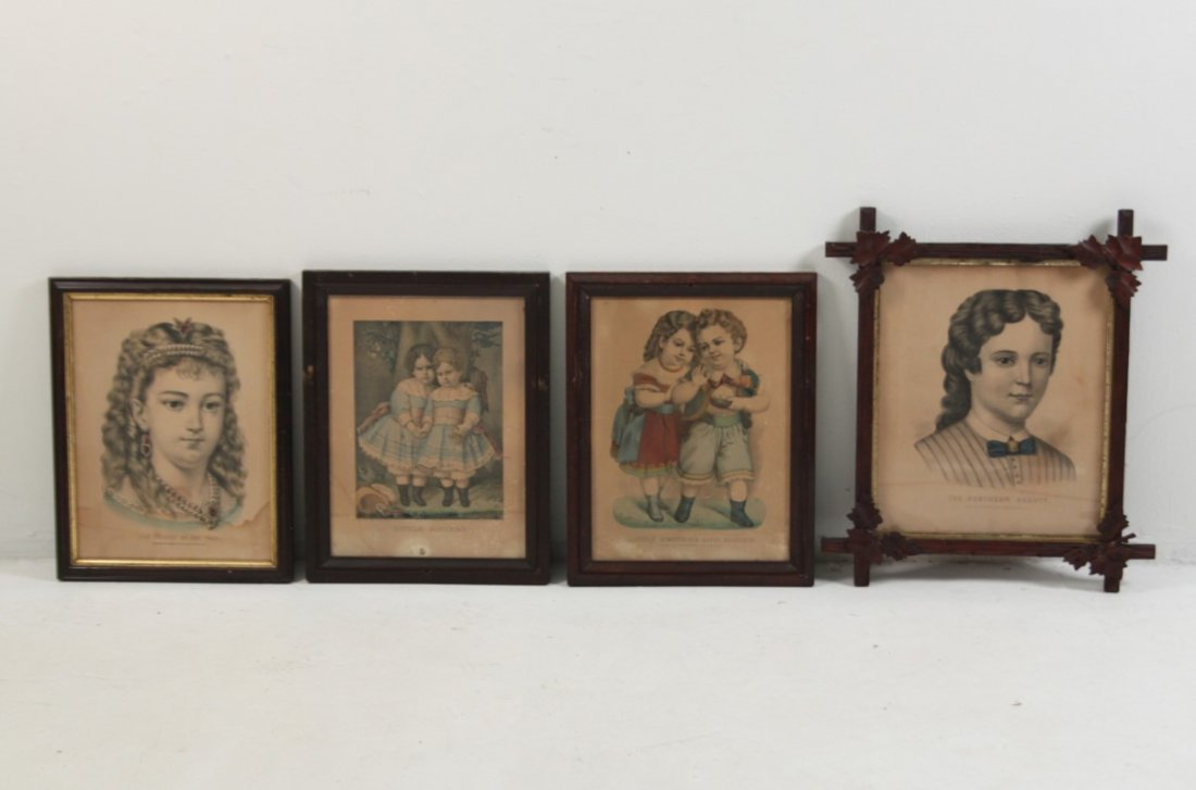 GROUP OF 4 CURRIER & IVES FRAMED COLORED ENGRAVINGS