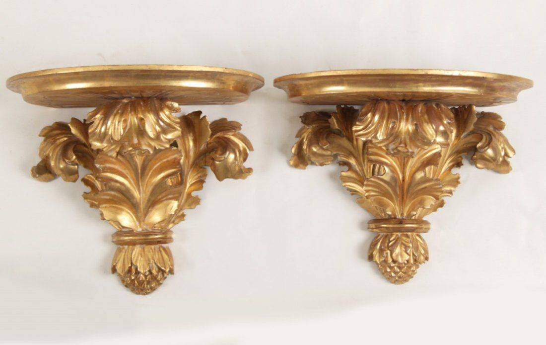PAIR OF 19TH C. ITALIAN CARVED GILT WOOD  WALL SCONCES
