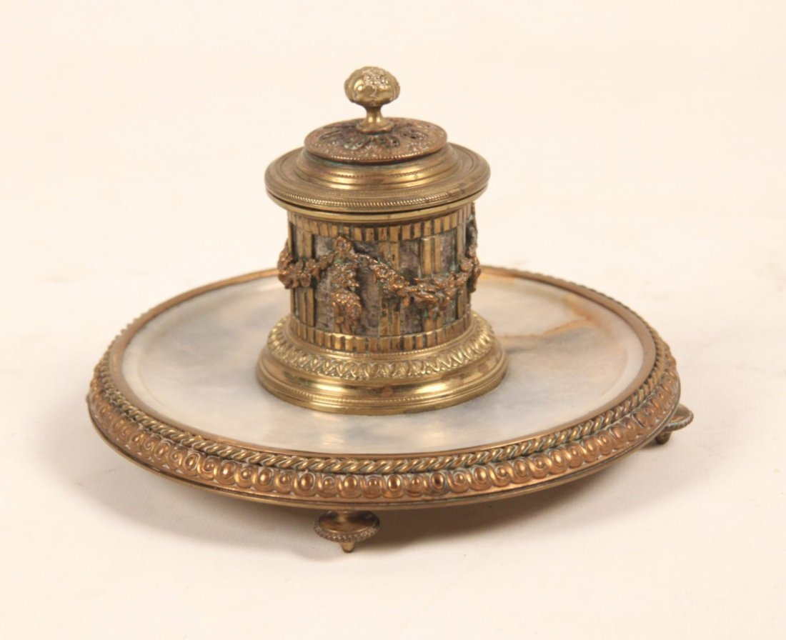 GILT BRONZE AND ONXY FOOTED FRENCH INKWELL
