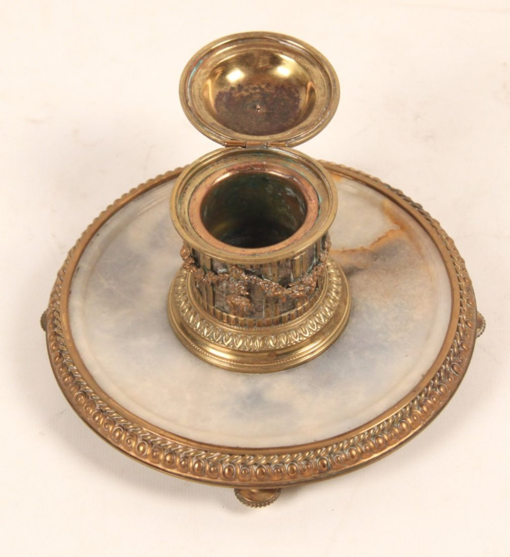 GILT BRONZE AND ONXY FOOTED FRENCH INKWELL - 2