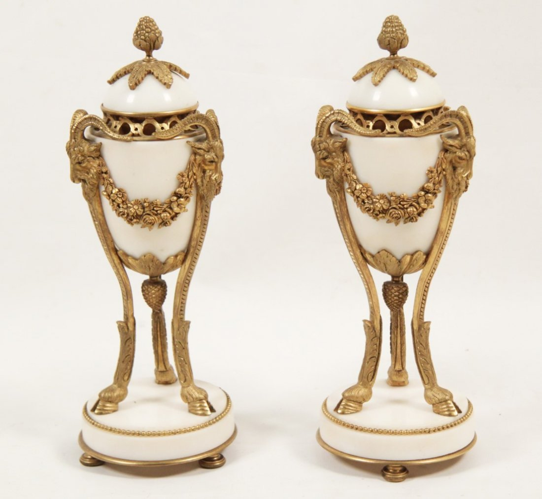 PAIR OF FRENCH REGENCY DORE BRONZE AND MARBLE COUPS