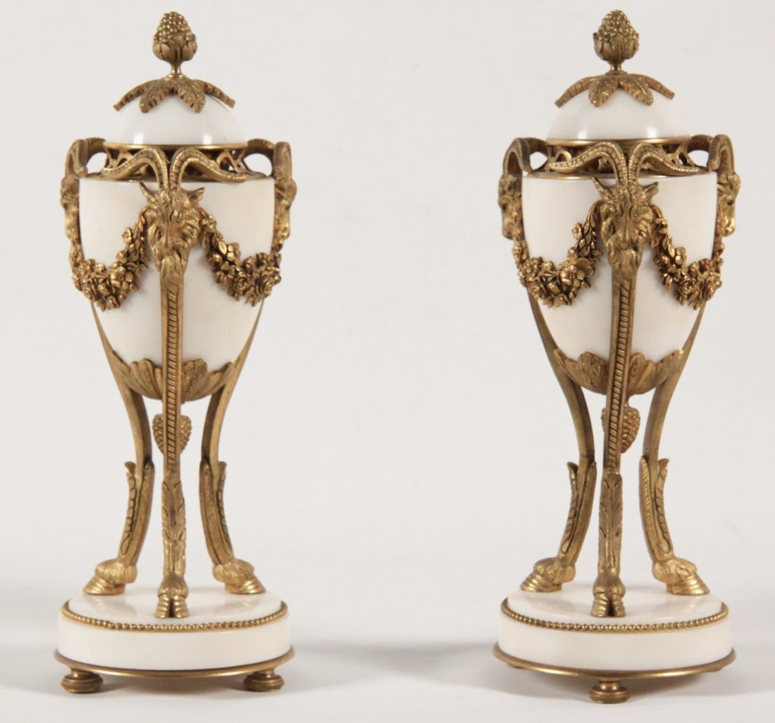 PAIR OF FRENCH REGENCY DORE BRONZE AND MARBLE COUPS - 2