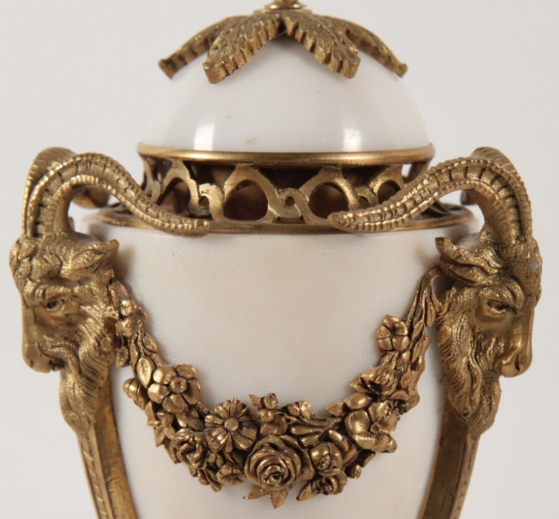PAIR OF FRENCH REGENCY DORE BRONZE AND MARBLE COUPS - 3