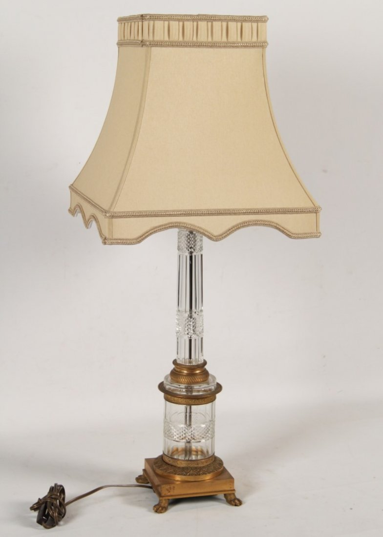FRENCH DORE BRONZE AND CRYSTAL COLUMN LAMP