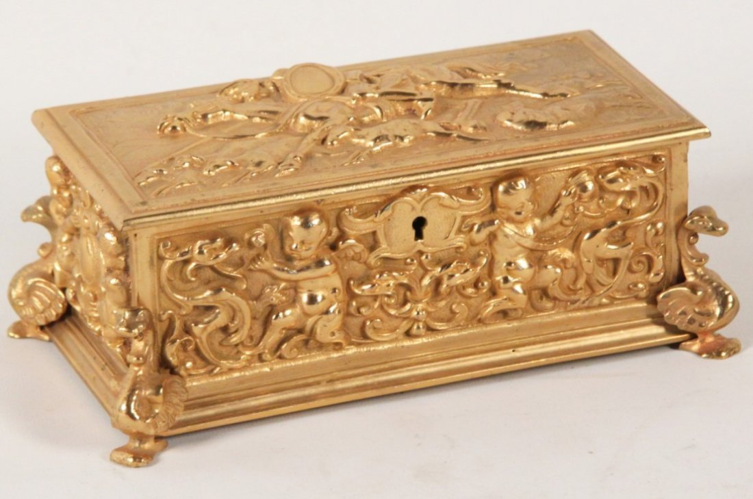 19TH C. FRENCH DORE BRONZE HINGED CASKET
