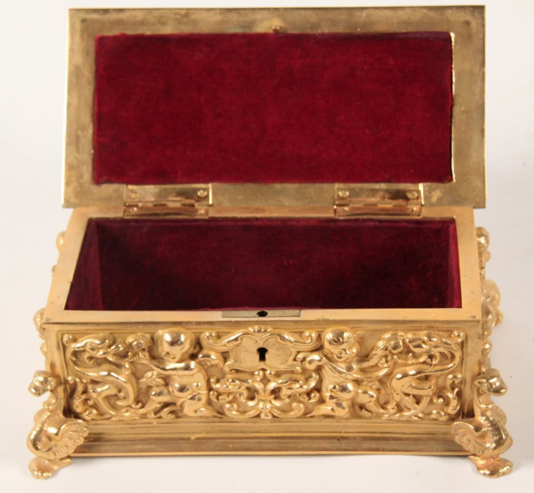 19TH C. FRENCH DORE BRONZE HINGED CASKET - 3