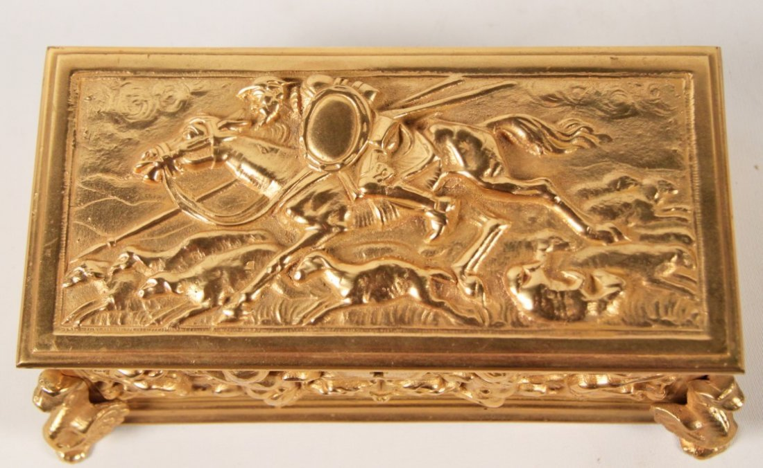 19TH C. FRENCH DORE BRONZE HINGED CASKET - 4