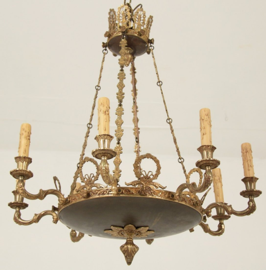 FRENCH EMPIRE 8 LIGHT GILT BRONZE CHANDELIER