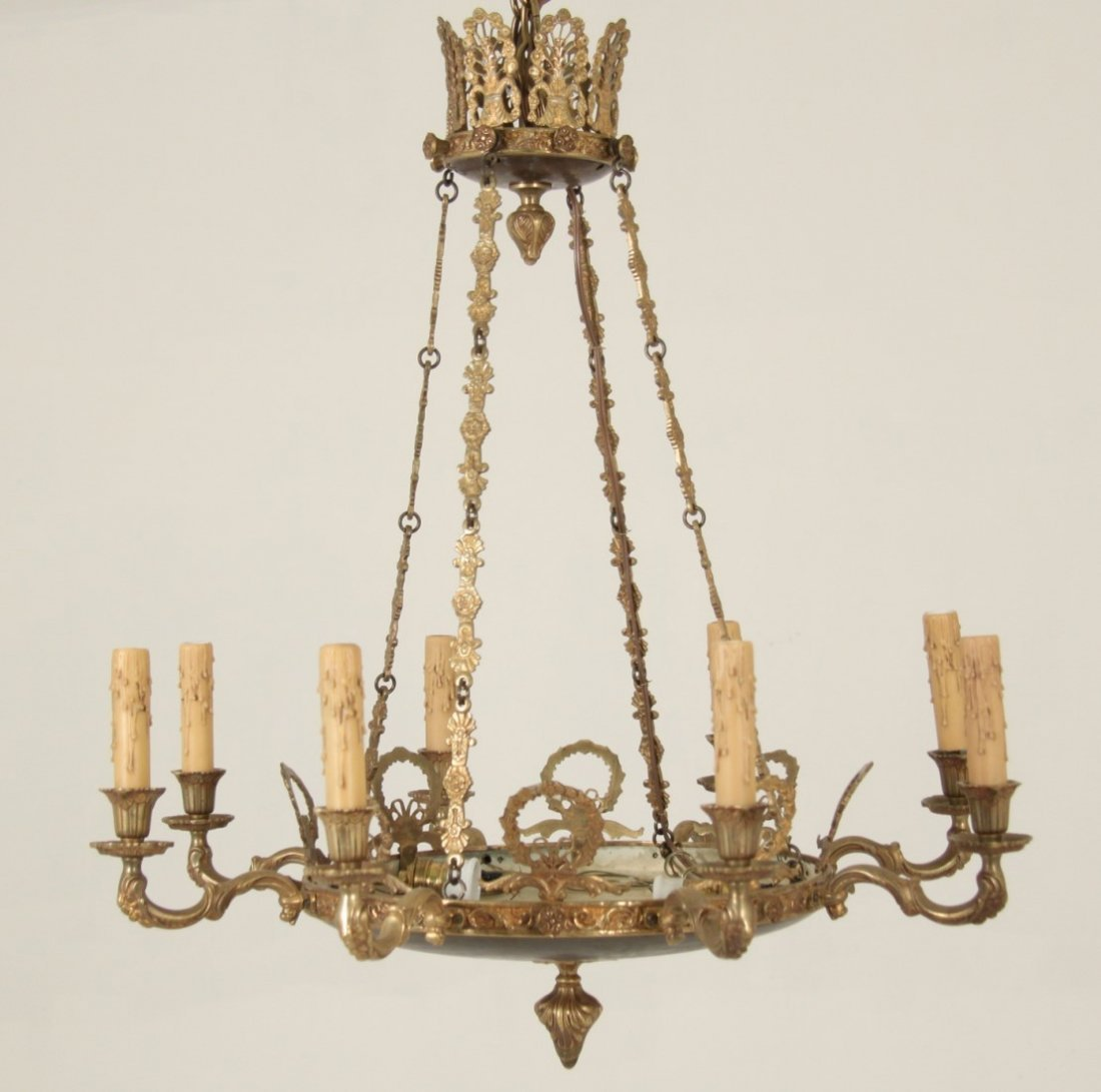 FRENCH EMPIRE 8 LIGHT GILT BRONZE CHANDELIER - 2