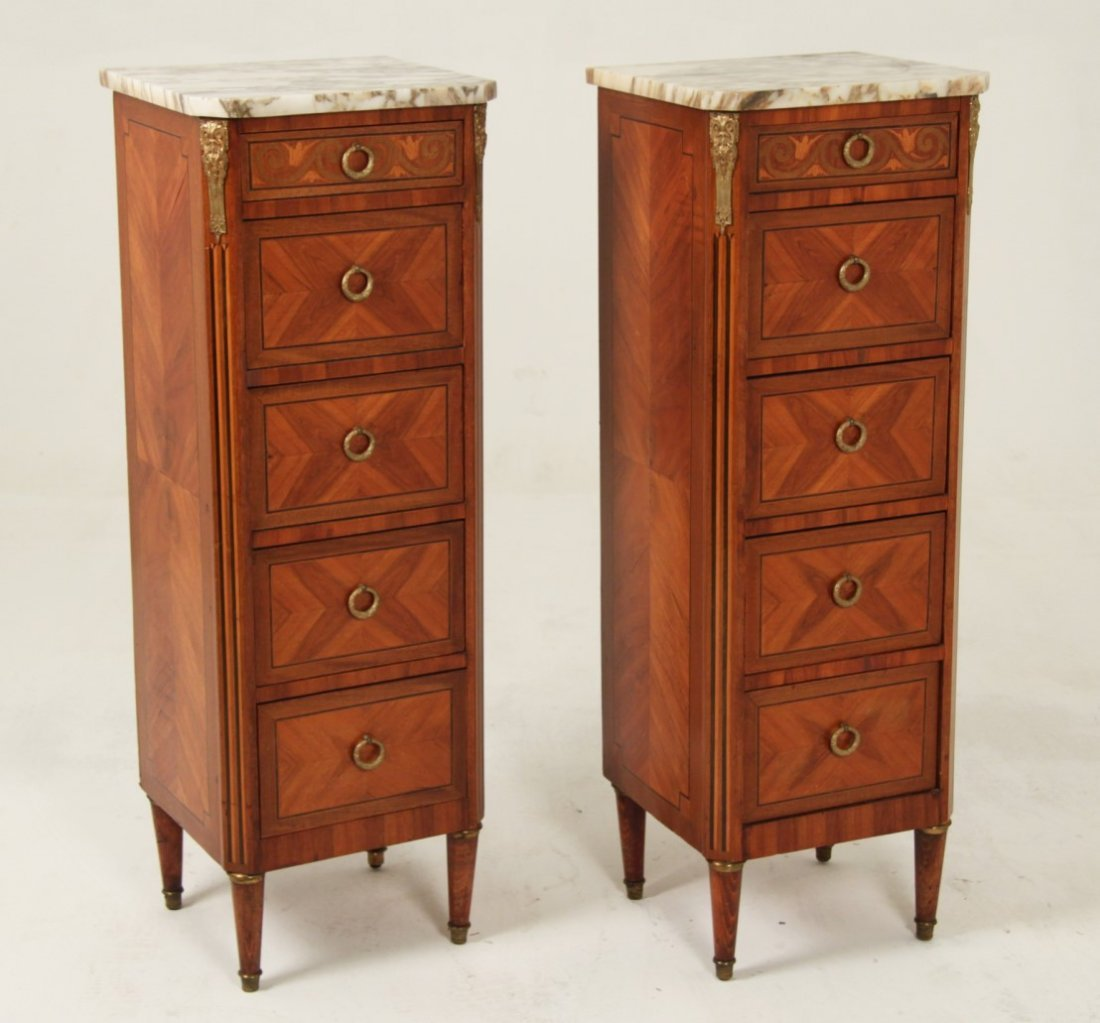 PAIR OF LOUIS XV MARQUETRY AND BRONZE MOUNTED COMMODES