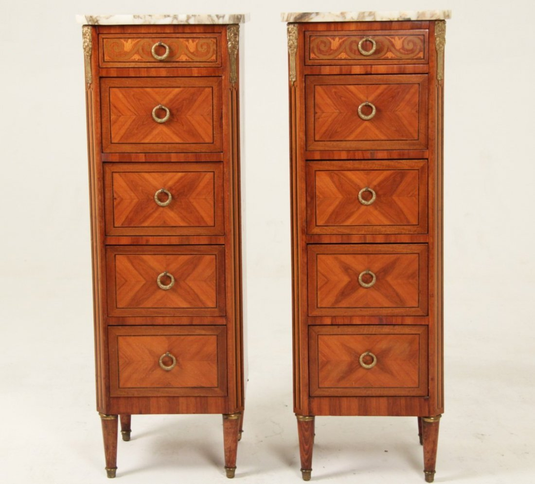 PAIR OF LOUIS XV MARQUETRY AND BRONZE MOUNTED COMMODES - 2