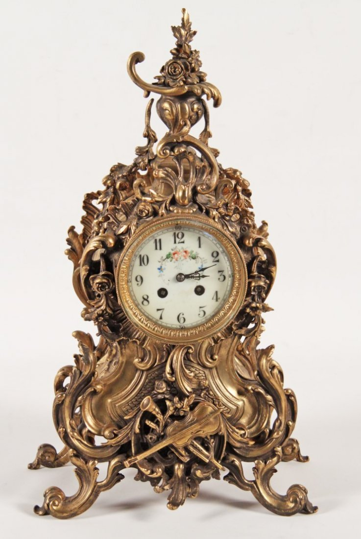 LOUIS XV STYLE GILT BRONZE CLOCK