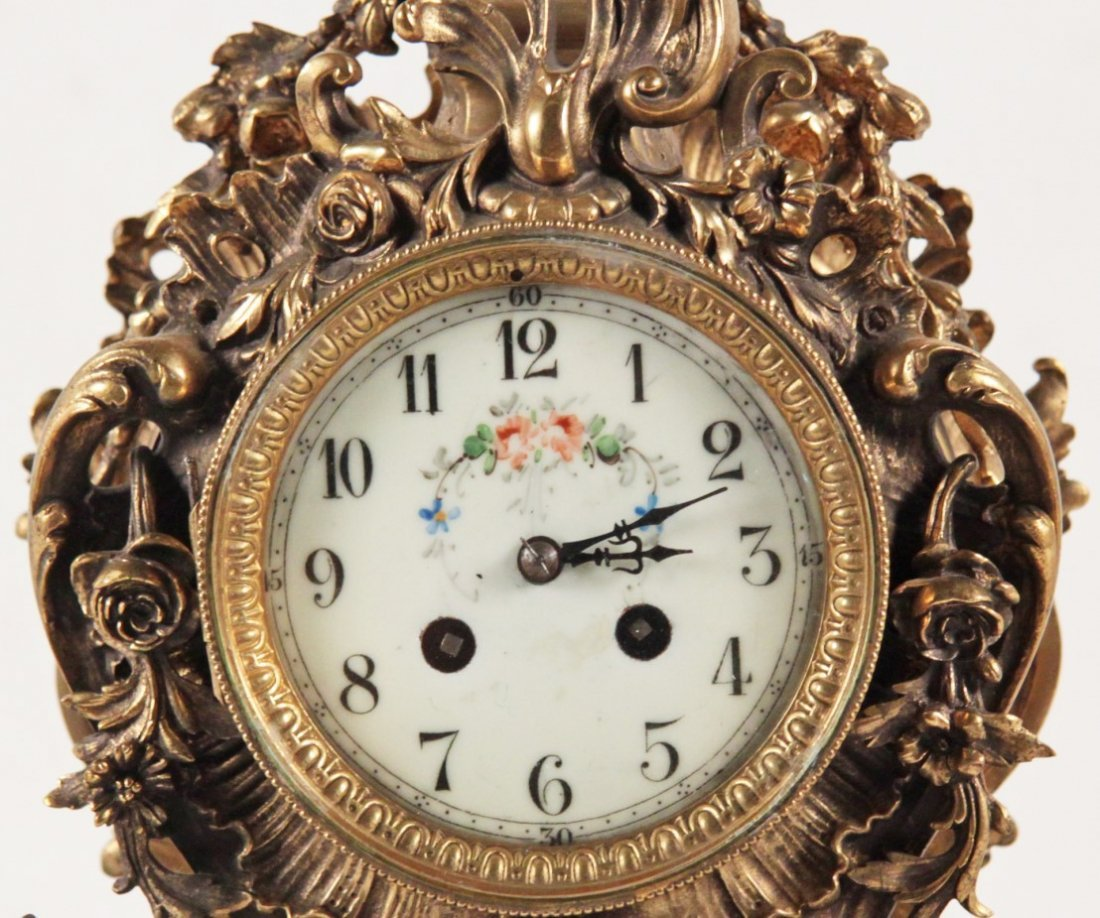 LOUIS XV STYLE GILT BRONZE CLOCK - 2