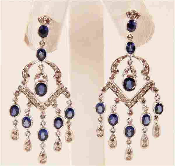 PAIR OF 18K WHITE GOLD DIAMOND AND BLUE SAPPHIRE