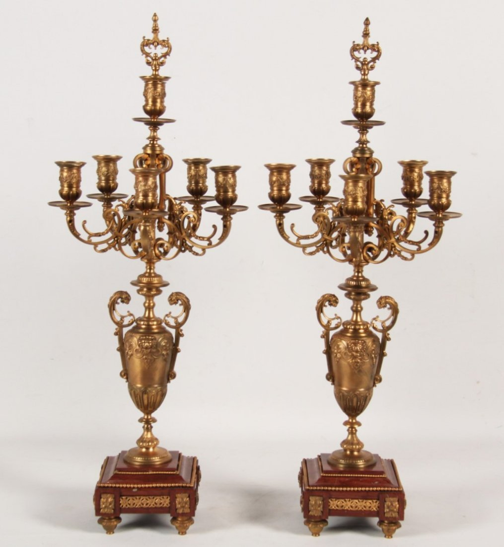 19TH C. PAIR OF FRENCH DORE BRONZE 6 LIGHT CANDELABRA