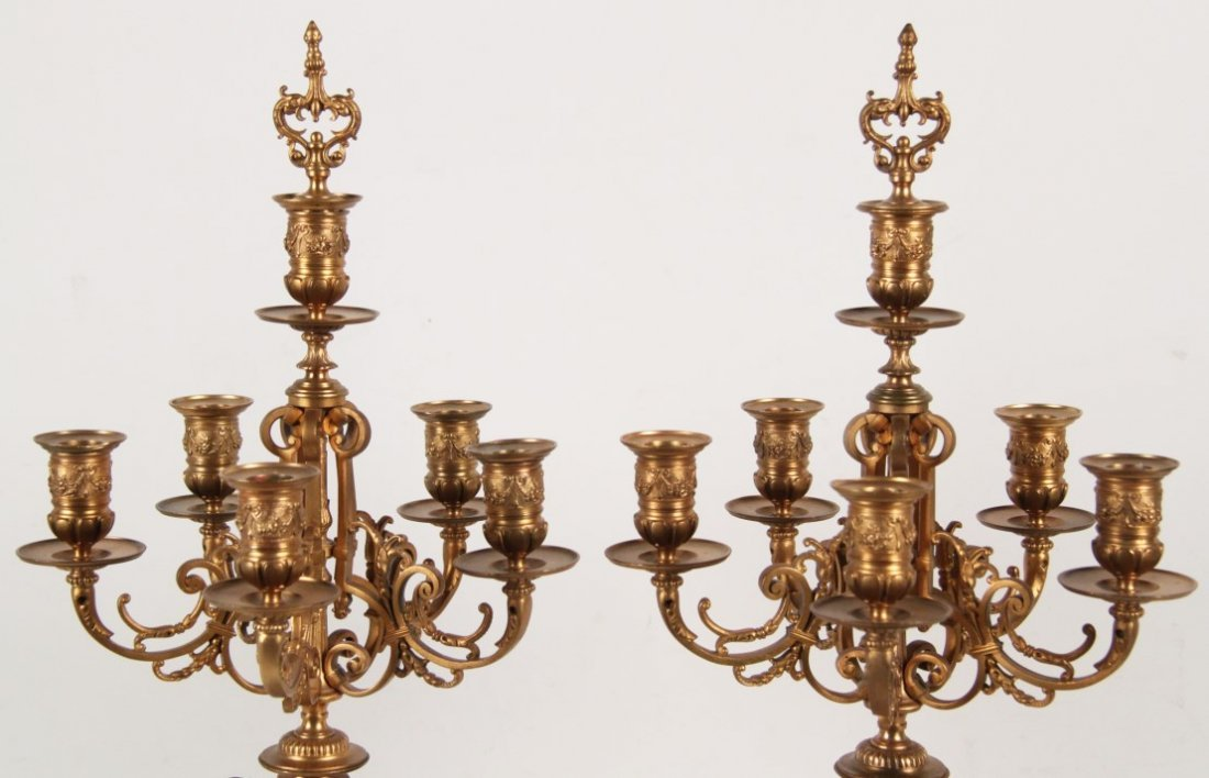 19TH C. PAIR OF FRENCH DORE BRONZE 6 LIGHT CANDELABRA - 2