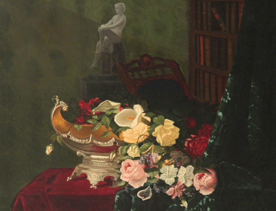 19TH C. OIL ON CANVAS STILLIFE PAINTING