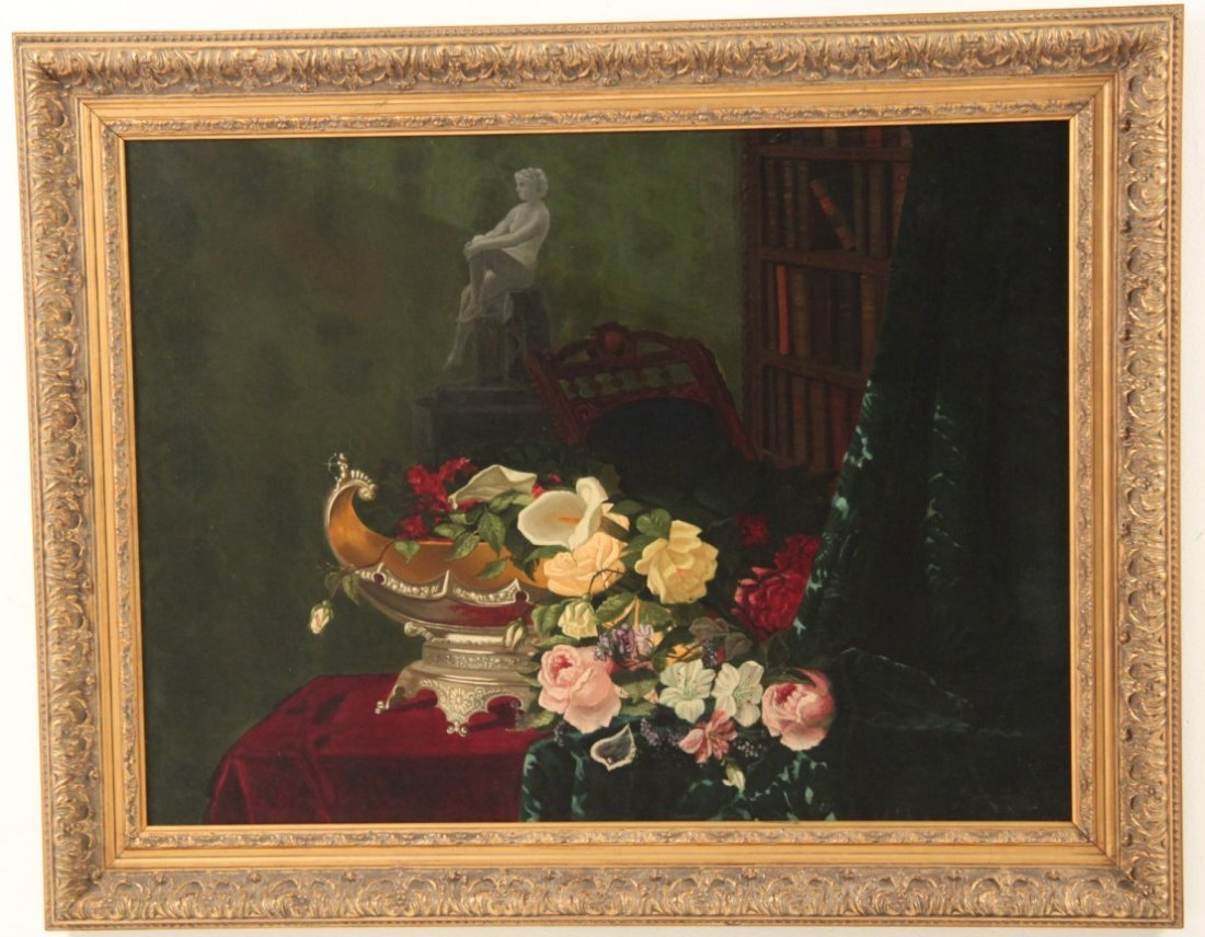 19TH C. OIL ON CANVAS STILLIFE PAINTING - 2